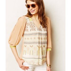 Anthropologie Embroidered Sunneva Peasant Blouse S